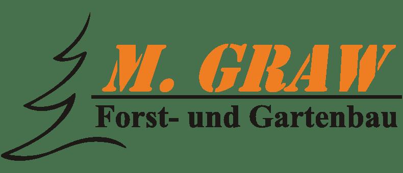 MG Forst und Garten Logo mit orangenem Schriftzug und schwarzen Elementen